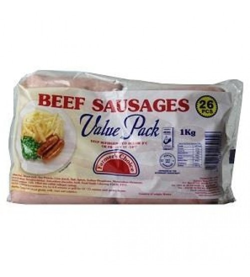 Farmer's Choice Beef Sausages 26 Pieces 1Kg (Value Pack)