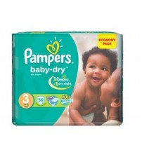 Pampers Baby Dry Diapers Size 3 Midi 4-9Kg 36s