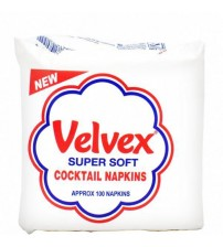 Velvex Premium White Cocktail Serviettes 100 Sheets